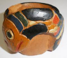 Small Fish Design, Dallas Road Clay Pot, Signed With Klee Wyck (Emily Carr) Monogram - height 4.45cm, width 5.0, depth 4.45cm . Sold by Kilshaw's Auctioneers, Victoria BC, February 24, 2011