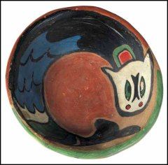 Carr, Dogfish Bowl, painted ceramic sculpture, circa 1924 ~ 1926, signed Klee Wyck, 14 x 13.3 x 5.1 cm. Heffel Auctioneers
