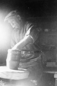 Axel Ebring working in his studio. Vernon Museum and Archives
