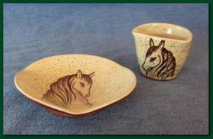 Lorenzen potterey tri cornered dish and container with decorated horse heads 1949