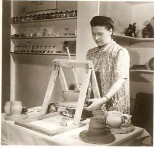 Bailey Leslie at the Wheel. First Demonstration by the Canadian Guild of Potters at Eaton's College Street Store, Toronto 1940. Page Toles, National Archives of Canada PA 164214
