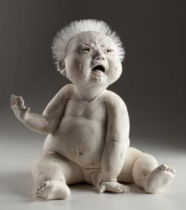 Baby Lucian Weeps 2013. W 28 x H 33 x D 26 cm. Red clay, slips, fishing line. 2014, 1st Cluj International Biennale Photo Kenji Nagai Collection of Ceramart, Cluj-Napoca, Romania. LARK 500 - Figurative Ceramics, and Art and Perception, USA,