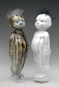 Twin Binary Road Warrior Figurines 2015 H 48cm. Porcelain, coloured slips, wire and fishing line. Photo E.A.Clarke