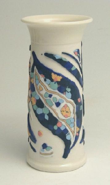 Carol Smeraldo. 2014. Flower Fish Vase. White Translucent Porcelain wheel thrown vase translucent porcelain murrinis. Clear glaze overall. 2240˚F oxidation. 21 x 10cm.