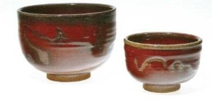 Walter Dexter. Two Bowls. 1970. Stoneware, wax-resist, 9.6 x 14.5 left. Winnipeg Art Gallery, gift of anonymous donor; right 14.4 x 20.5 gift of Mr and Mrs Bernard Naylor