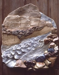 Carol Smeraldo. Figure Eight Rapids: South Nahanni River. 1976. 76 x 74 cm. Stonewares and porcelain. Cone 8 electric.