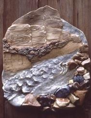 Carol Smeraldo. Figure Eight Rapids: South Nahanni River. 1976. 76 x 74 cm. Stonewares and porcelain. Cone 8 electric.