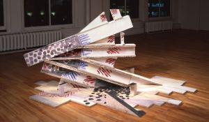 A-M Tremblay. Garuda. 1989. Bétonique, glazes, colloids. 1.5 m. Shown in the exhibition De Davis à Beaufort, un voyage imaginaire. Centre d'exposition Circa, Montreal. Photo: Guy L'Heureux.