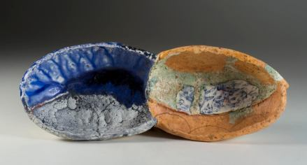 John Chalke. 2009. Deep Blue Pool and Cranes, 12 x 31 x 7 cm. Hand built and assembled wall piece, multiple glazes and firings (cone 05-04), decal. Photograph: Barbara Tipton