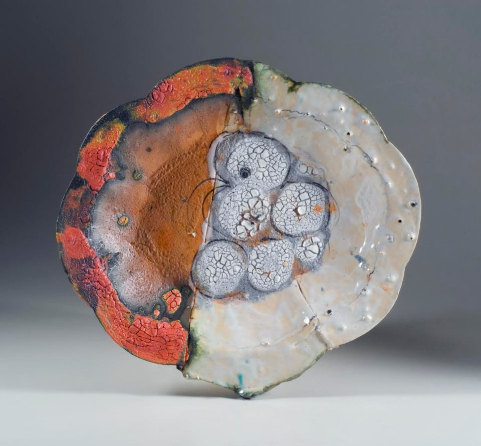 John Chalke. Five Circles, 2012. 36 x 41 x 5 cm. Hand built, altered, layered multiple glazes, multiple firings (cone 05-04). Photograph: Barbara Tipton
