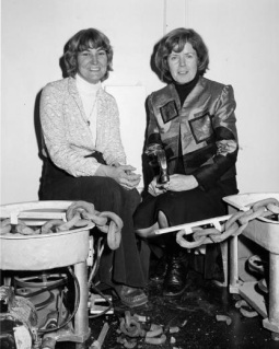 Carol Smeraldo and Ann Mortimer at the official opening of the Halifax Studio School of Pottery, January 1980.