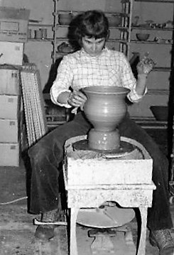 Carol Smeraldo In The 1970s Checking A Pot She Is Throwing
