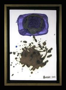 Homage to Gottlieb Blue. Multi fired mid range in Oxidation. Framed 22.9 x 32.4 cm . Permission of the artist. Photo by Judi Dyelle