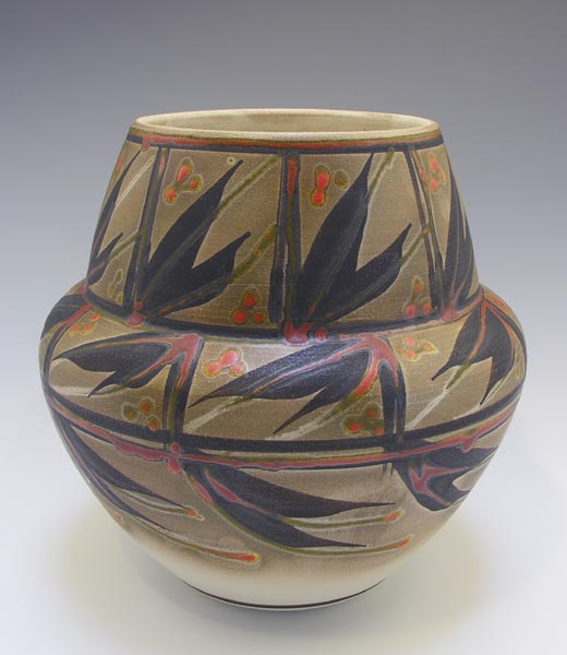 Robin Hopper. Olla Form . Porcelain Sprayed With Terra Sigillata, Burnished & Then Painted With Black/Bronze Pigment Fired To Cone 9 In Oxidation, Then Ttrailed & Brushed With Chrome Red Lead Glaze, Then Fired In Oxidation At Cone 08. Photo: Judi Dyelle