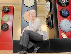 """Ann Mortimer at her """"Umbrella Escapade"""" Exhibition."""