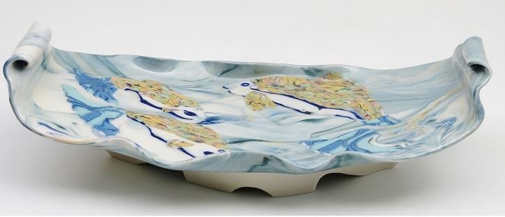 Carol Smeraldo. 2014. Upriver Journey. Murrini translucent porcelain. 10 x 29.2 x 15 cm.