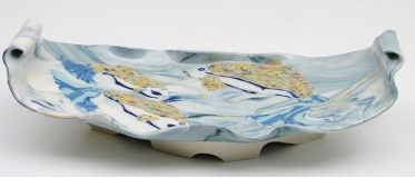 Carol Smeraldo. 2014. Upriver Journey. Murrini translucent porcelain. 10 x 29.2 x 15 cm.