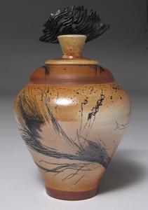 Carol Smeraldo. (DATE??) Raku Vase. Horsehair carbon painted, black porcelain finial,