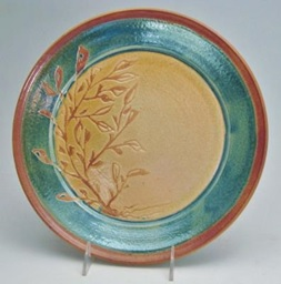 Carol Smeraldo. (DATE?) Raku Plate. Trailed wax resist seaweed pattern. 29.2x3.2 cm.