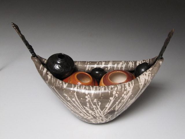 Carol Smeraldo. 2011. Ancestor Boat 4. Trailed vertical sacrificial glaze. 15.2 x 29cm.