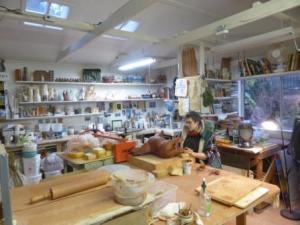 Debra Sloan in her studio. Photo Terry K Yip