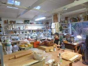 Debra Sloan in her studio. Photo Terry K Yip