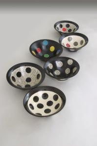 Polka Dot Bowl Series, 2013. White stoneware, coloured underglazes, transparent glaze, fired to Cone 5 in oxidation 5 x 16 cm approx. each.