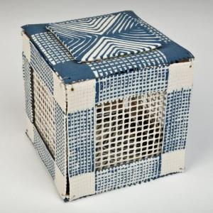 Blue Box, 2007 Porcelain, (wire, beads as connectors). 13X13cm. Photo: Chris Myhr. Collection of the Burlington Art Centre, Ontario.