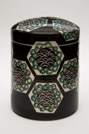 "Black ""Imari"" Covered Jar, 1979. White stoneware, underglaze colours, transparent glaze, fired to Cone 5. 17X13cm. Photo: Chris Myhr"