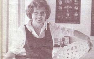 Ann Mortimer with a Woven Bowl. 1980