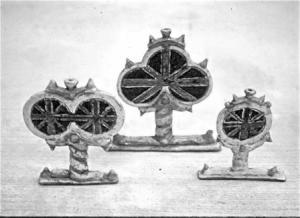 3 Straw flower holders with British flag, Stoneware, Raku, tallest work was approx. 16 cm.high. Courtesy of the artist.