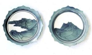 Campbell, two plates, 1978. airbrushing stains on bisque porcelain work then glaze firing to C/6 oxidation. Courtesy of the artist.