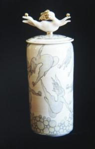 Keith Campbell, Balancing Gold Balls, 1986. Thrown covered jar with sculpted Flying Fat Lady at top, airbrushed stains, under glaze pencil drawing, lustre, C/6 Porcelain, oxidation, 36 cm High. Courtesy of the artist.