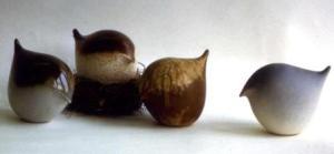 Ann Mortimer. Birds 1970's. Porcelain, slip cast, slips and glazes, oxidation fired