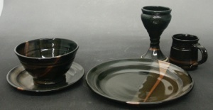 Alberta Gold Design Porcelaneous Stoneware High Fired to 2380 in a gas kiln Semi-Gloss Black and Amber Glazes