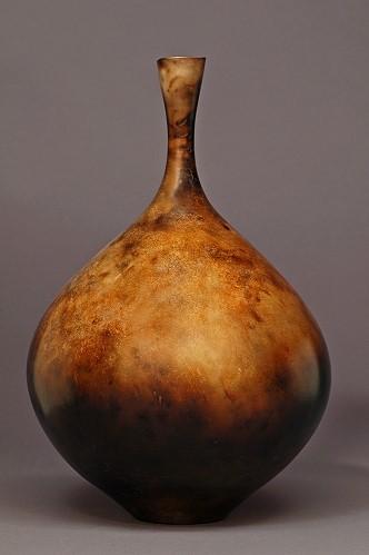 Judy Blake. Smoke-Fired Vase, 2012. Burnished, unglazed, Earthenware. 35.6 cm h x 24.1 cm w.