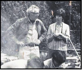 Connie Pike and Carlton Ball. 1976 at a primitive firing at Stonecrop, Canmore, AB.