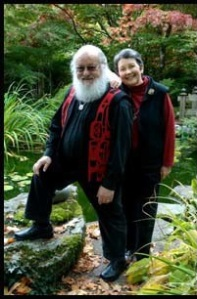 Robin Hopper and Judi Dyelle in their Metchosin garden