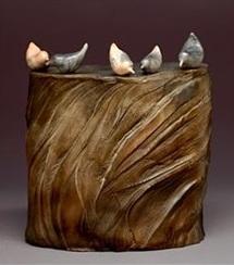 Judy Blake. Small Birds on Cliff, 2010. Burnished, unglazed saggar-fired birds on smoke-fired cliff. 25.5 cm h x 15.5 cm w x 21.5 cm l.