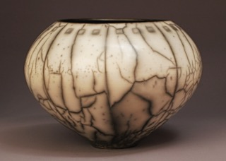 Judy Blake. Naked Raku Vessel, 2009. White earthenware fired in sawdust, 20 cm h x 27.5 cm w.