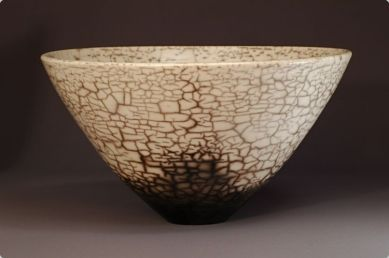 Judy BlakeNaked Raku Bowl, 2000. white earthenware in sawdust, 18 cm h x 33 cm w