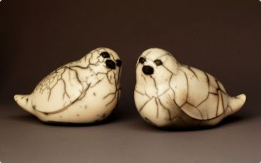 Judy Blake. Naked Raku Sparrows, 2010. Each 15 h x 12 w x 20 l cm. Burnished, unglazed and naked raku fired.