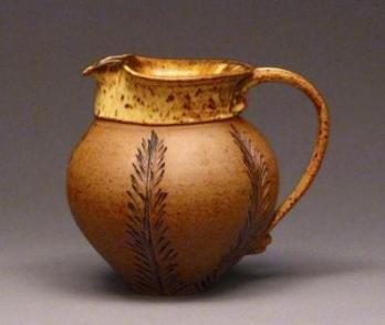 Judy Blake Stoneware pitcher, 1985. 17.8 cm h x 16.5 cm w.