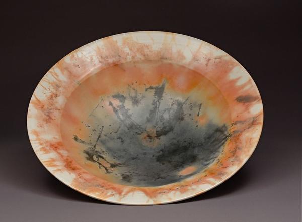 Judy Blake. Saggar fired bowl. [clay and combustibles?] [2012?] . 11.4 x 40.6 cm