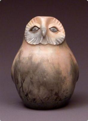 Judy Blake. Saggar-Fired Owl. 2013. 23 cm h x 17 cm w.
