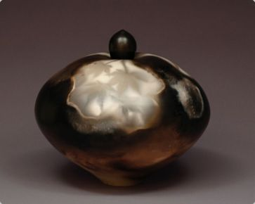 Judy Blake. Sawdust-fired Lidded Vessel with 'Leaf Shadow', 2012. Porcelain, fired with various types and textures of sawdust, 23 cm h x 25 cm w.