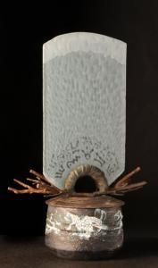 "Glyph Arch Branch Vessel Ceramic, cast bronze and glass. 19"" w x 10.5"" deep x 29"" h Peter Powning"