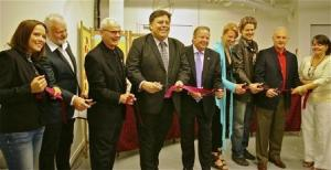 The Ribbon Cutting Ceremony: VP Dermot Wilson, Pres. Keith Campbell, city councillor Jeff Serran, MP Jay Aspin, Executive Director of Craft Ontario Emma Quin, Geoff Richardson our landlord,and President of Canadore College George Burton with Amy and Manon holding the ribbon.