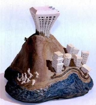 "Vancouver, Bird's Eye View, 1977. Stoneware clay, fired cone 8, coil-built, modeled, coloured slips, H – 20""51cm , Exhibited 1977 - Debra Sloan and Lesley Richmond - Gallery of BC Ceramics. Collection of Artist. Photo Terry K Yip"