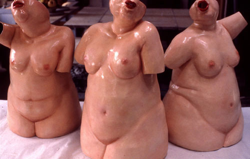Ladies Night Out, 1985. Red clay, white slip base, and painted with oil paints, slab built, formed from inside, each piece, H – 61cm, collection of artist Photo Terry K Yip
